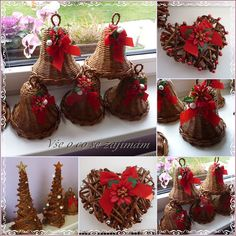 Easy Crafts Ideas at Home Here are some of the most beautiful DIY projects you can try for your self at home If you enjoyed this DIY room dec. Christmas Time, Christmas Wreaths, Christmas Bulbs, Christmas Decorations, Newspaper Basket, Newspaper Crafts, Holiday Baskets, Paper Weaving, Quilling Paper Craft