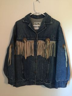 Vtg Womens PIONEER WEAR Denim Jacket Leather Fringe Size 10 Blue Jean Coat #PioneerWear #JeanJacket