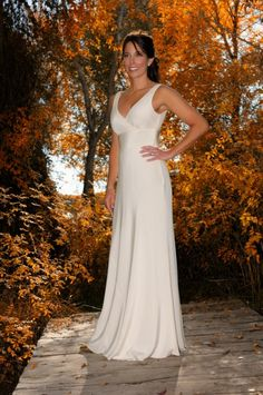 Classic silk, V-neck empire line wedding dress. I love the simplicity of this design and the way the silk has been cut on the bias, so it hangs beautifully on the figure. |