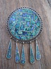 Vintage Taxco Mexico Sterling Silver Southwest Turquoise Mosaic Pin Pendant