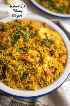 Instant Pot Shrimp biryani is a simple, uncomplicated dish, packed with flavour from fresh herbs and spices. Rice Recipes, Indian Food Recipes, Ethnic Recipes, Seafood Recipes, Dinner Recipes, Seafood Boil, Curry Recipes, Vegetarian Recipes, Dessert Recipes