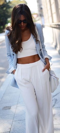 Casual Chic| Serafini Amelia| Summer Styling-White Crop Top  Slacks