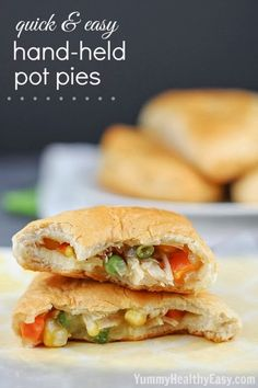Easy Hand-Held Pot Pies~ Refrigerated biscuits filled with easy chicken and vegetable pot pie mixture, folded to make a hand pie and then baked. Easy dinner your family will love!