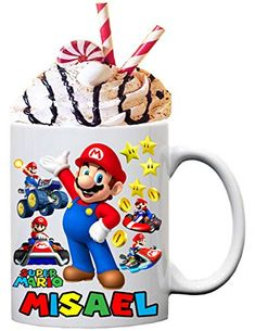 Personalize your Mario Bros chocolate or coffee ceramic mug, Mario gift mugs, gamer mug, put your name or text for fr... Gift Mugs, Gifts In A Mug, Custom Capes, Mug Printing, Party Shop, Mario Bros, Party Ideas, Ceramics, Chocolate