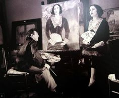 Marc Chagall painting the portrait of Bella ('Bella in Green'), Paris France, 1934-1935