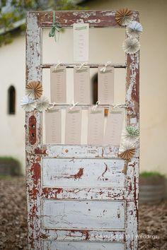 Rustic Wooden Door Seating Plan ♥ Protea and Rustic Fynbos Inspired Wedding at Langverwagt | Confetti Daydreams ♥  ♥  ♥ LIKE US ON FB: www.facebook.com/confettidaydreams  ♥  ♥  ♥ #Wedding #RealBride #RusticWedding