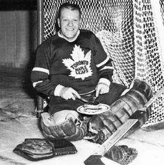 Turk Broda is hungry after stopping a few pucks Hockey Goalie, Hockey Players, Ice Hockey, Hockey Highlights, Bernie Parent, Maple Leafs Hockey, National Hockey League, Toronto Maple Leafs, Old School