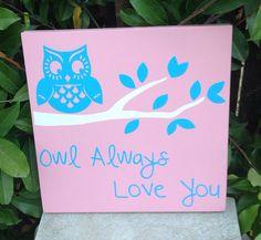 "Owl Always Love You Wood Subway Sign 11"" x 11""  Bird Nature Nursery"