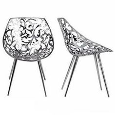 designed by philippe starck, miss lacy is an easy chair with the body made from stainless steel casting with an organic botanical pattern