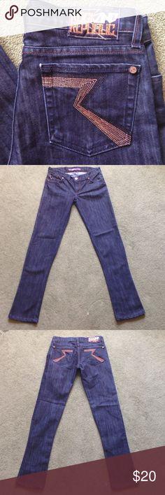 "Rock & Republic Size 26 Kasandra Blue Jeans Across waist - 15.5"", Front rise - 7"", Inseam - 31"", Leg opening - 6.5"" Rock & Republic Jeans Straight Leg"