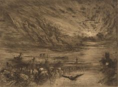 Félix-Hilaire Buhot»The Spirits of Dead Cities, 1885, etching, roulette, drypoint, and aquatin.