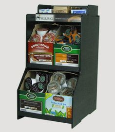 Keurig black storage rack holds 4 boxes of K-cups with sugar & cream storage on top.  Also comes in the larger 8 box size.  Need this for the office!