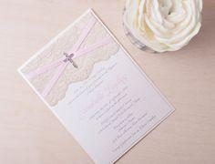 LAILA - Dainty Lace Baptism Invitation ~ Customizable ~ Pink and Ivory ~ Cross Invitation ~ Christening Invitation on Etsy, $5.25