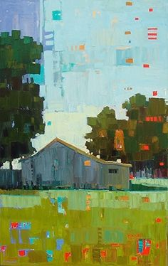 Neighbors Barn-Rene' Wiley-48x30 Inches-Oil On Canvas by René Wiley Gallery Oil ~ 48 x 30