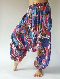 Flora soft cotton baggy unisex harem pants by IndycraftsDesigns