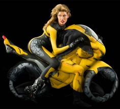 Human motorcycle bodypainting