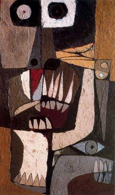 Mural Movible Lidice. Mai Lai. 1977. Acrilico sobre Madera. 200 x 120 cm. La Edad de la Ira nº 2. Colección Fundación Guayasamín. Quito. Ecuador