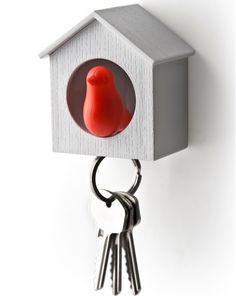 Qualy sleutelkastje vogelhuisje rood/wit