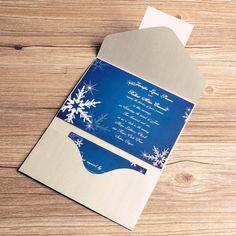 winter snowflake blue pocket wedding invitations