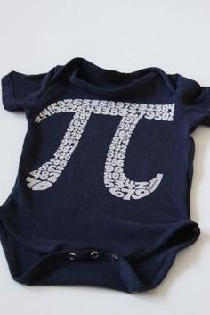 Recycled T Shirt Transformed into a rad baby onesie! For the Pi lover, of course!!