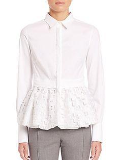 Aquilano Rimondi Long Sleeve Lace Bottom Shirt