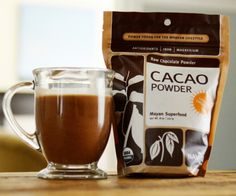 1 tbsp raw cacao powder (Whole Foods) some hot water and some almond (or coconut) milk Apparently cold water and raw cacao powder won't stir...