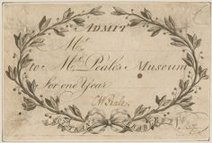 Admission Ticket to Peale's Museum, 1788, Engraved by Charles Willson Peale, American, 1741 - 1827 | Philadelphia Museum of Art