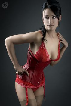 red corset, I can't tell if the lace is attached or not