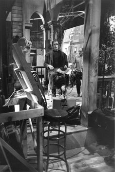 Fred Gwynne unwinds backstage on the set of The Munsters in 1964.