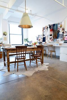 Ulla Johnson office. I want the light, table and design board. Basically the entire office.