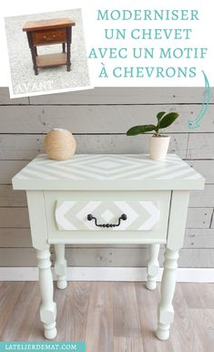 Un chevet avec un motif en chevrons | L'atelier de Mat Chevrons, Rocking Chair, Nightstand, Sweet Home, Craft Ideas, Retro, Decoration, Crafts, Inspiration