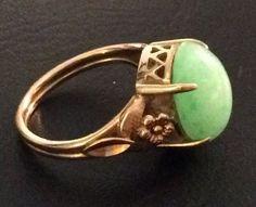Antique Vintage Art Deco Genuine Green Jade 14k Gold Filigree Flower Ring #Unbranded #Solitaire
