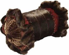Luxury Bolster ACCENT PILLOW of dark chocolate brown faux mink, deep red velvet and chocolate brown crushed velvet embellished with beading by Reilly-Chance Collection