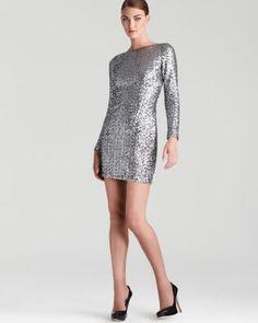 AQUA Sequin Dress - Long Sleeve V Back | Bloomingdale's AQUA REG. $188.00 SALE $94.00 Sale ends 5/24/16 pricing policy