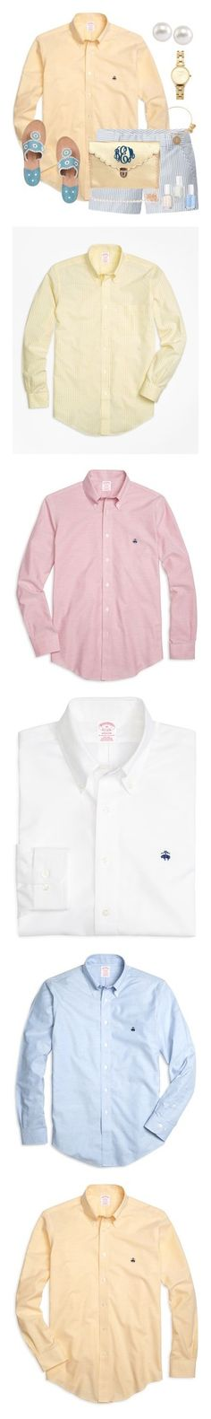 """""""Button ups"""" by beccaaclose ❤ liked on Polyvore featuring Brooks Brothers, Uniqlo, Jack Rogers, Carolee, Olivia Burton, Alex and Ani, Essie, men's fashion, men's clothing and men's shirts"""