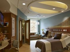 At Lakeland Inpatient Pavilion in St. Joseph, Michigan, Lean was used extensively in the patient room to improve patient satisfaction and safety. The distance from the bed to the toilet is where some 90% of all patient falls occur, so the design team reduced the space between the two in an effort to limit the likelihood that a patient would fall. Photo credit: Hedrich Blessing Photographers.