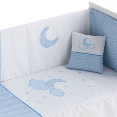 Edredón para cuna, maxicuna, supercuna MOON color azul Color Azul, Bed Pillows, Pillow Cases, Toddler Bed, Bb, Furniture, Home Decor, Google, Products