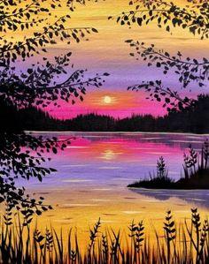 Lake Painting, Summer Painting, Diy Painting, Happy Paintings, Nature Paintings, Golden Lake, San Jose, Silhouette Painting, Simple Acrylic Paintings