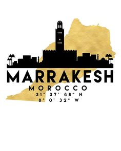 MARRAKESH MOROCCO SILHOUETTE SKYLINE MAP ART -  The beautiful silhouette skyline of Marrakesh and the great map of Morocco in gold, with the exact coordinates of Marrakesh make up this amazing art piece. A great gift for anybody that has love for this city. Contact me: digital@deificusart.com  marrakesh morocco downtown silhouette skyline map coordinates souvenir gold deificus art