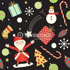 Arte vectorial : Colorful Christmas seamless background