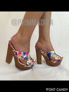 WHITE FLORAL FLOWER CLOG CORK WEDGE HIGH HEELS FASHION STILETTO OPEN TOE 6.5 7.5 #fashion #OpenToe