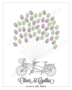 Tandem Bicycle Fingerprint Guestbook for by HummingbirdShops, $20.00