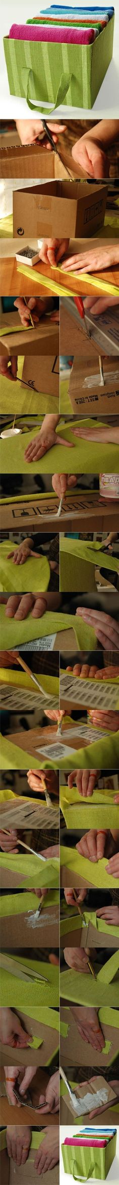 Make your own organizer box - cover ordinary cardboard box with fabric. Picture tutorial !! CooLio !
