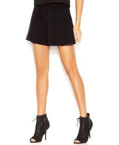 Rachel Rachel Roy Chiffon-Overlay Layered-Look Shorts