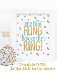 One Last Fling Before The Ring  Audrey Blue Gold Glitter