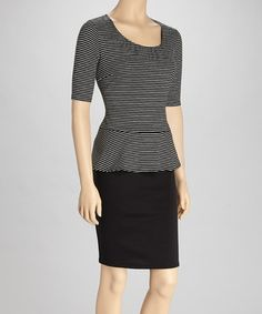 Prim and posh, a great frock helps a woman exude confidence. A striped top, peplum skirt and dark skirt show off a fab figure.