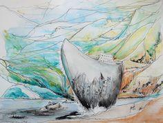 Tusche Aquarell Zeichnung Grażyna Hajewski Unikat profi papier kolor Kunst