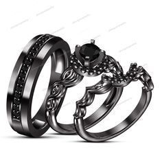 14k Black Gold Gp 925 Silver Rd Sim Diamond Unisex Wedding Trio Ring Prong Set #WeddingEngagementAnniversaryBrithdayPartyGift