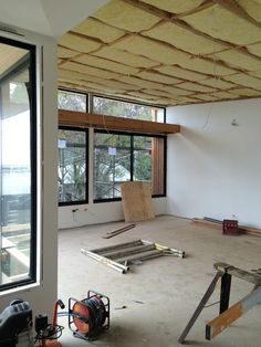 Lounge + dining ready for raked ply ceiling.  Hill House site progress.  @adarchitecture @surfview_builders #adarchitecturehillhouse #torquay