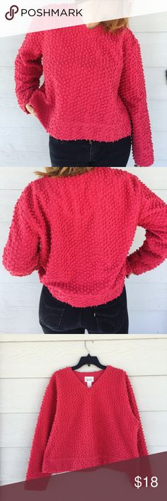 Christopher & Banks Pink Textured Sweater This color IS Raspberry Sherbet if I have ever seen it. Cute little Pom Poms to create a statement texture. Size is an XL/ Coldwater Creek. I am a M-L and this was a little big on me, but still looks cute! Works with some skinny jeans! Bundle and Save 30% off total purchase. Offers always welcome! Christopher & Banks Sweaters V-Necks